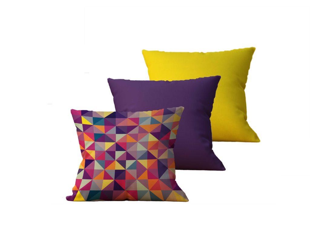 Kit com 3 Almofadas decorativas Geo MultiColor - 45x45 - by #1 AtHome Loja