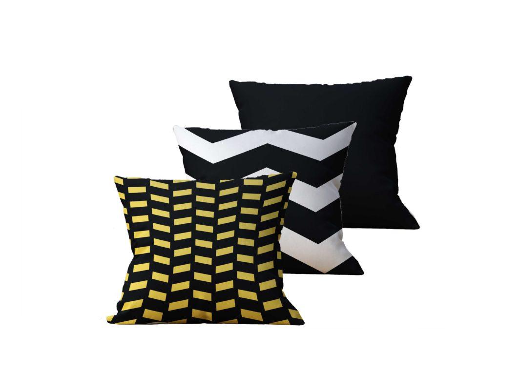 Kit com 3 Almofadas Decorativas Black & Gold - 45x45 - by #1 AtHome Loja