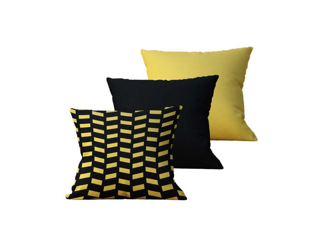 Kit com 3 Almofadas Decorativas Black & Gold Duo - 45x45 - by #1 AtHome Loja