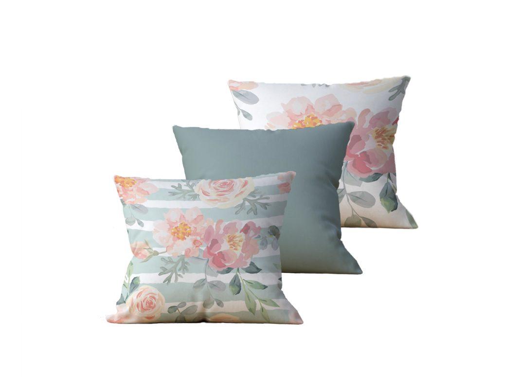 Kit com 3 Almofadas Decorativas Flor Esperance Duo - 45x45 - by #1 AtHome Loja
