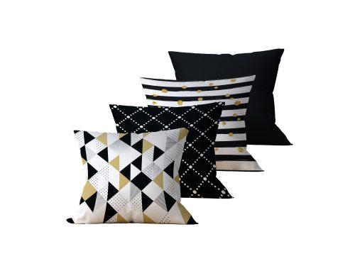 Kit com 4 Almofadas Decorativas Geo Gold - 45x45 - by #1 AtHome Loja