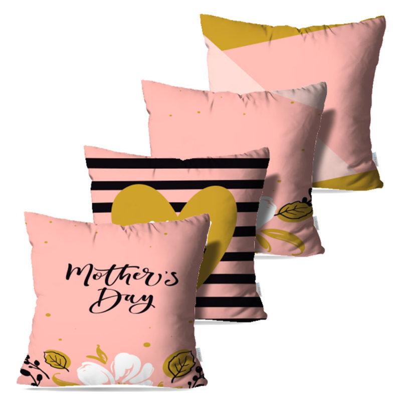 Kit: 4 Capas de Almofada Decorativas Dias das Mães - 45x45