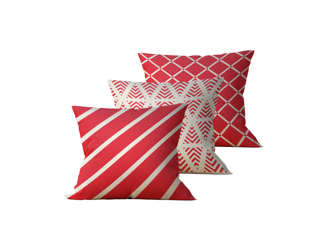 Kit: 3 Almofadas Decorativas Listras Vermelhas - 45x45
