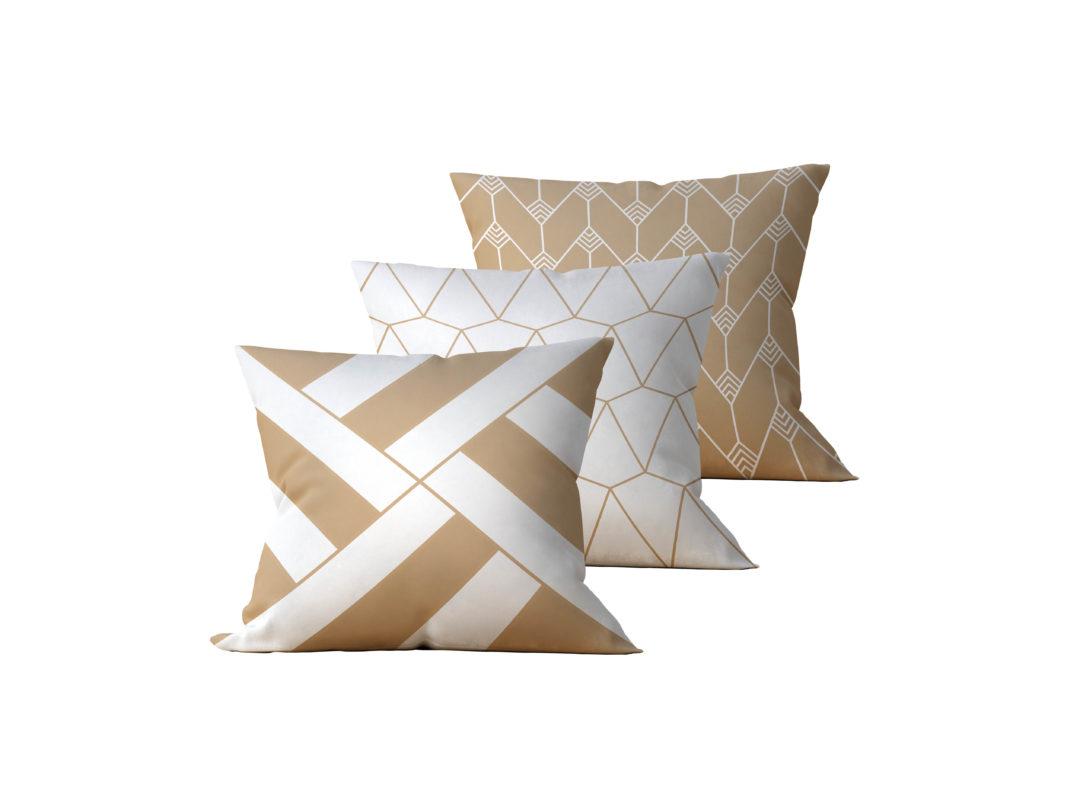 Kit: 3 Almofadas Decorativas Geométrica Gilt - 45x45