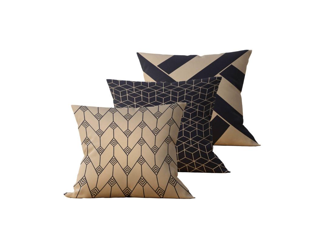 Kit: 3 Almofadas Decorativas Geométrica Black Gilded - 45x45