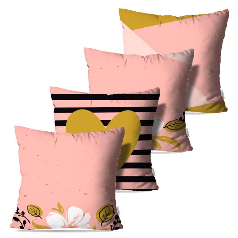 Kit: 4 Capas de Almofada Decorativas Rose Flower Neo - 45x45