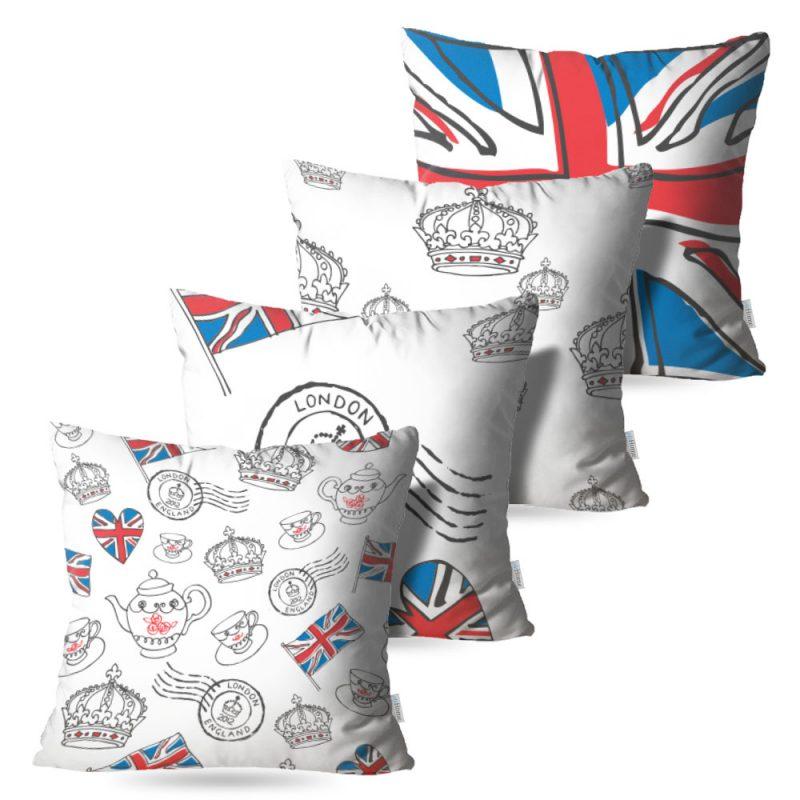 Kit: 4 Capas de Almofada Decorativas England - 45x45