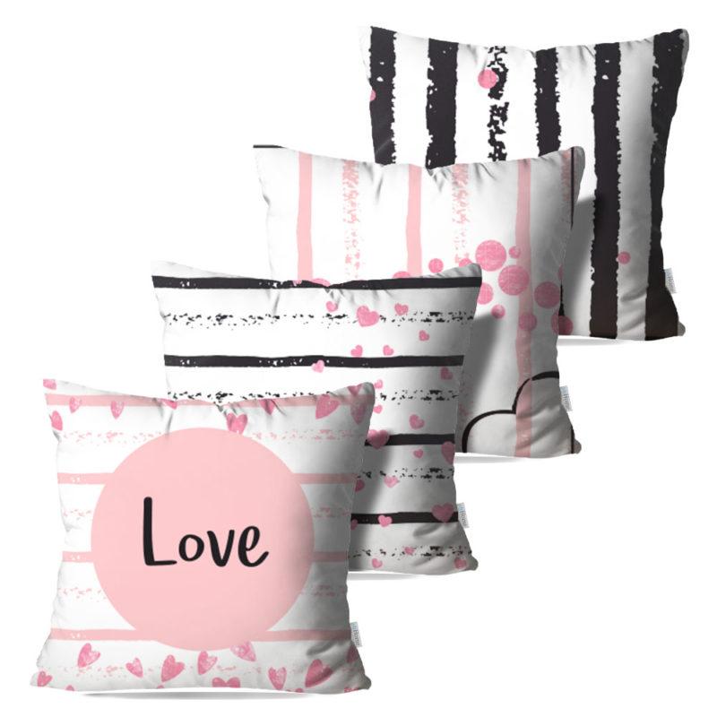 Kit: 4 Capas de Almofada Decorativas Love - 45x45