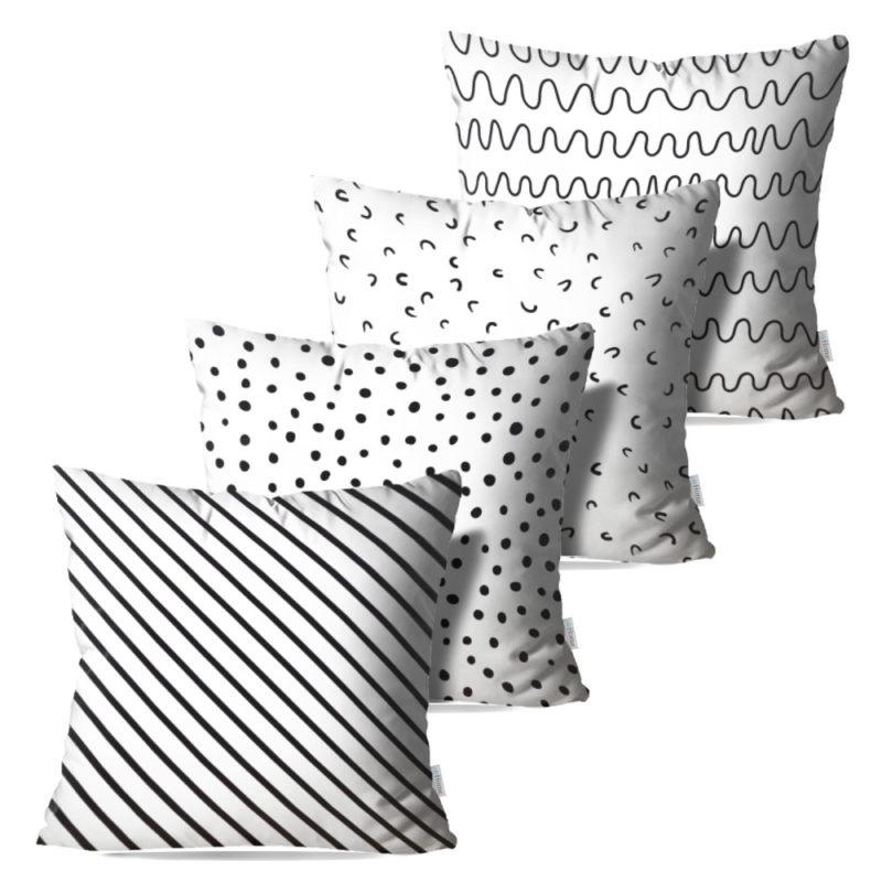 Kit: 4 Capas de Almofada Decorativas Seni - 45x45