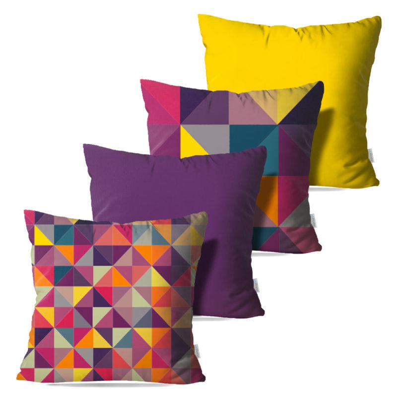 Kit: 4 Capas de Almofada Decorativas Geo Color - 45x45