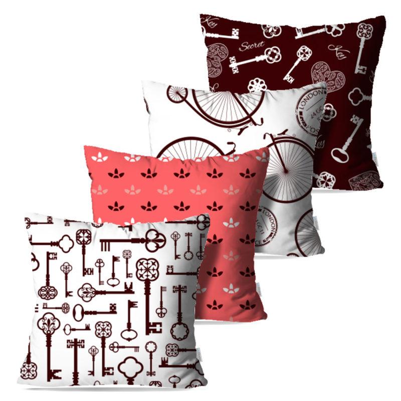 Kit: 4 Capas de Almofada Decorativas Hels - 45x45