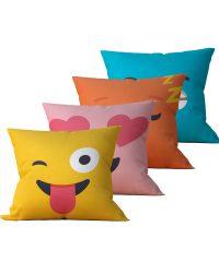 Kit: 4 Almofadas Decorativas Emoji - 45x45