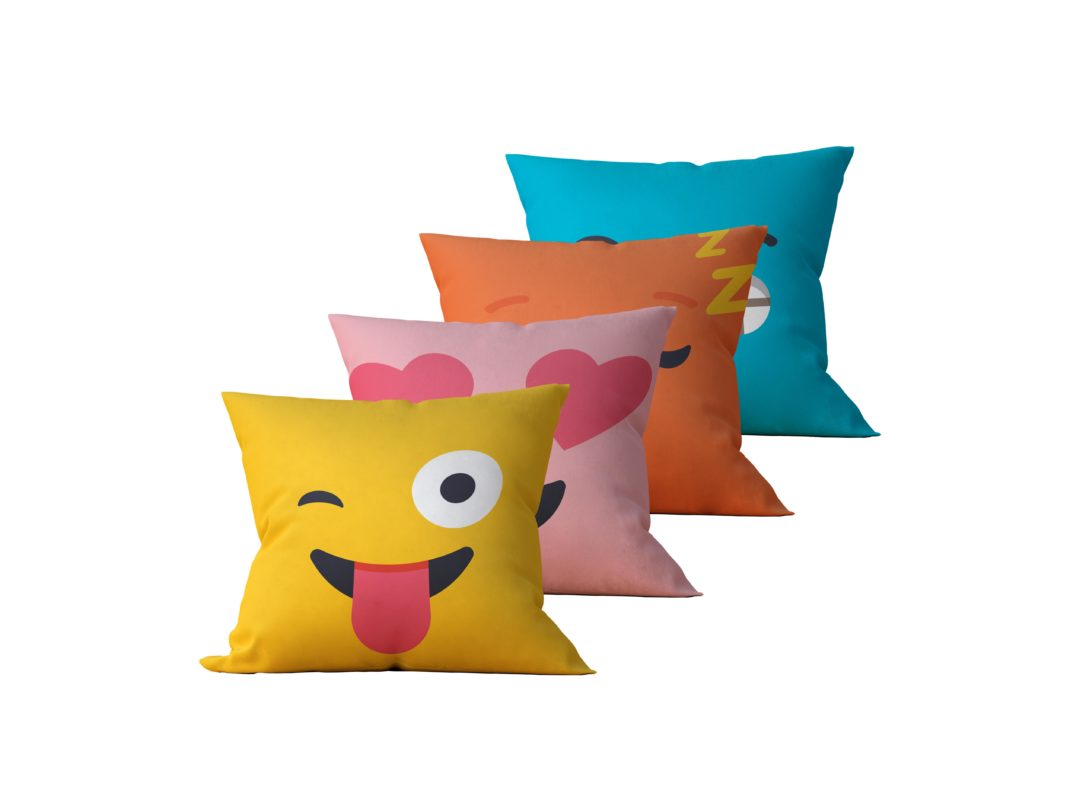 ea343608e1aaea Kit: 4 Capas de Almofada Decorativas Emoji - 45x45