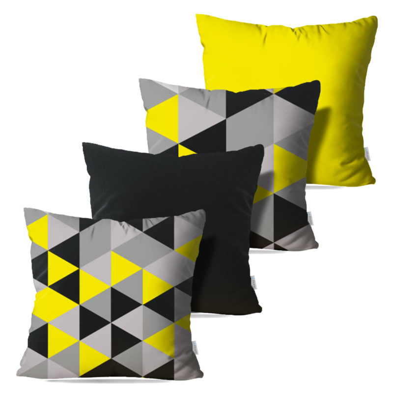 Kit: 4 Capas de Almofada Decorativas Geo Grey - 45x45