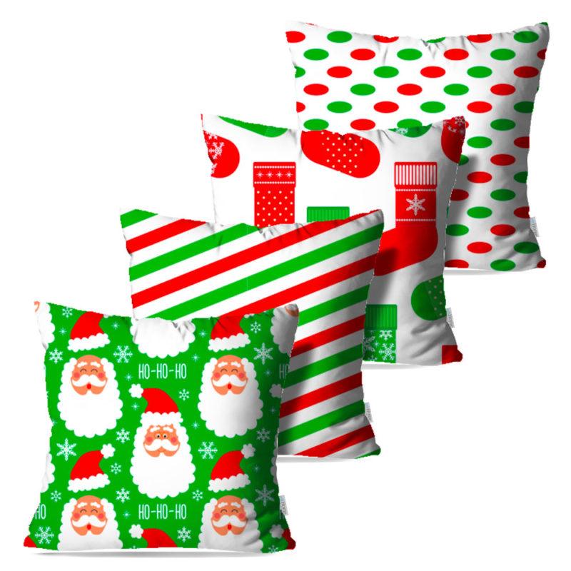 Kit: 4 Capas de Almofada Decorativas Natal HoHoHo! - 45x45