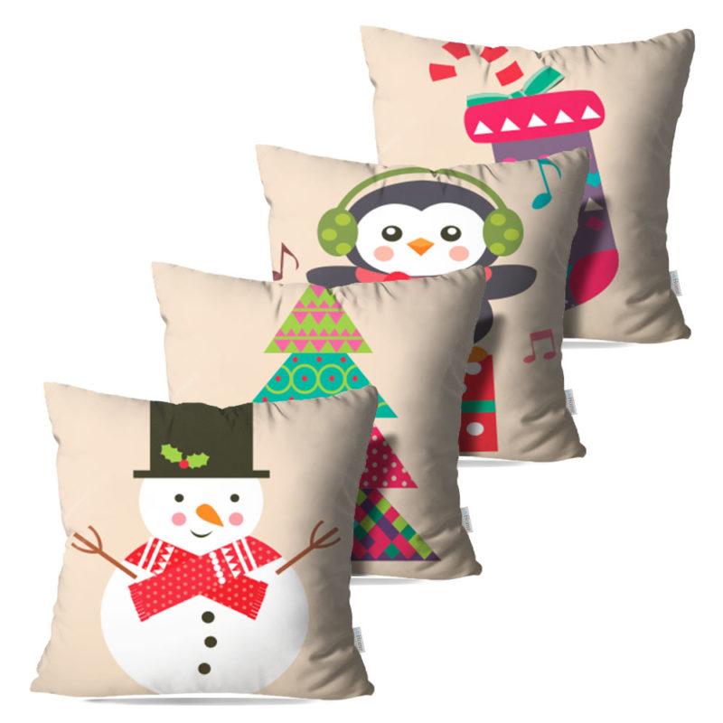 Kit: 4 Capas de Almofada Decorativas Natal Celebrate - 45x45