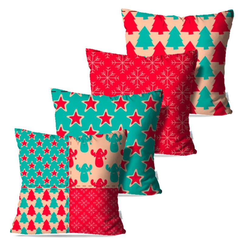 Kit: 4 Capas de Almofada Decorativas Natal Color - 45x45