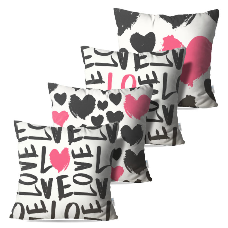 Kit: 4 Capas de Almofada Decorativas Love Rose - 45x45