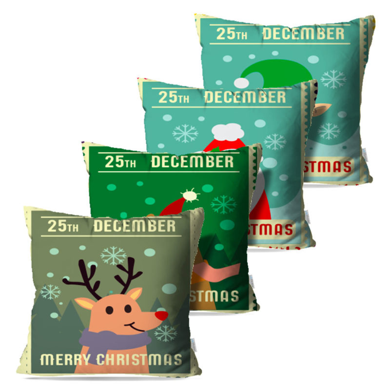 Kit: 4 Capas de Almofada Decorativas Natal Merry Christmas - 45x45