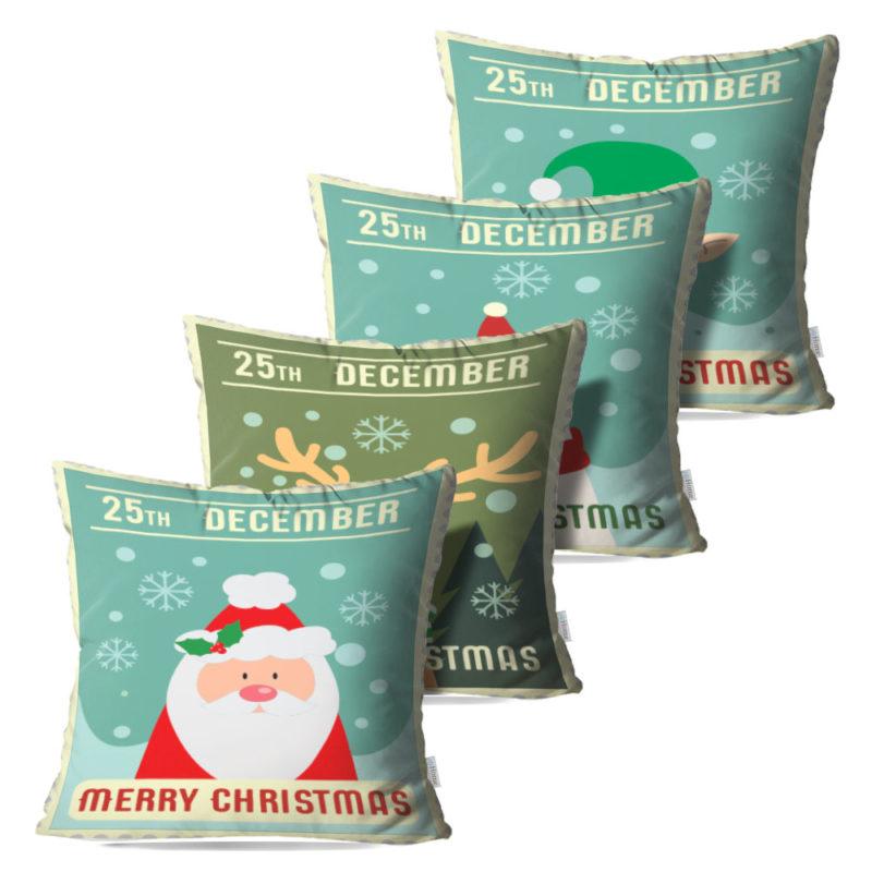 Kit: 4 Capas de Almofada Decorativas Natal Cards - 45x45
