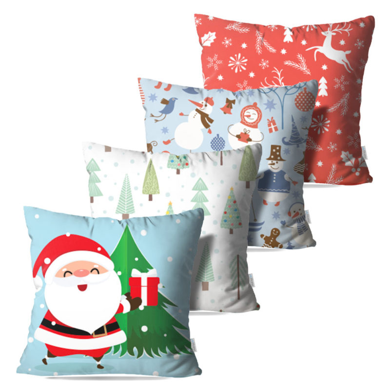 Kit: 4 Capas de Almofada Decorativas Natal Gift - 45x45