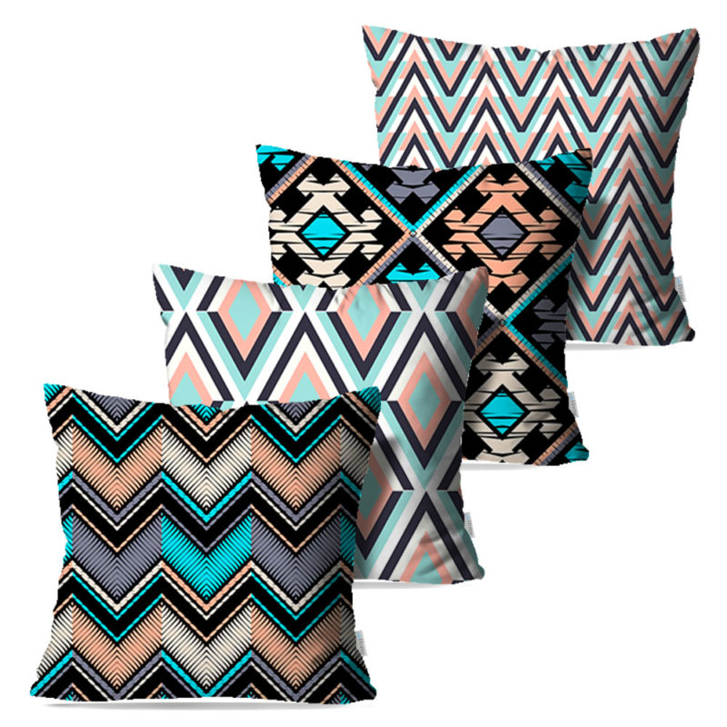 Kit: 4 Capas de Almofada Decorativas Blue Waves - 45x45