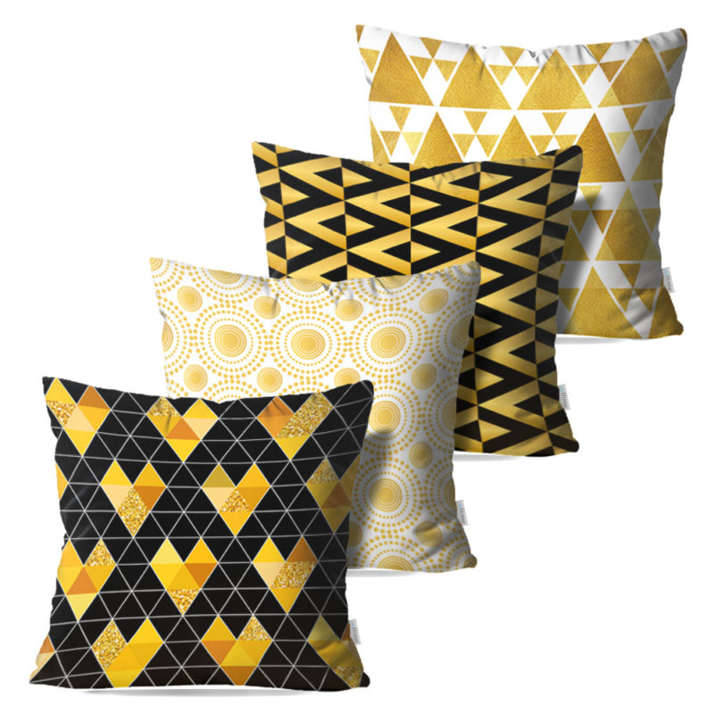 Kit: 4 Capas de Almofada Decorativas Love Gold - 45x45