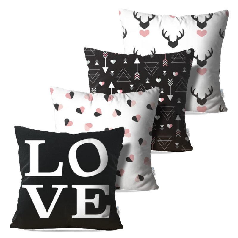 Kit: 4 Capas de Almofada Decorativas Love Black - 45x45