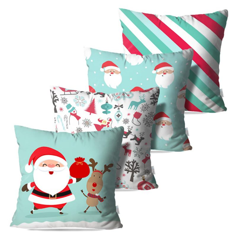Kit: 4 Capas de Almofada Decorativas Natal Santa Dear - 45x45