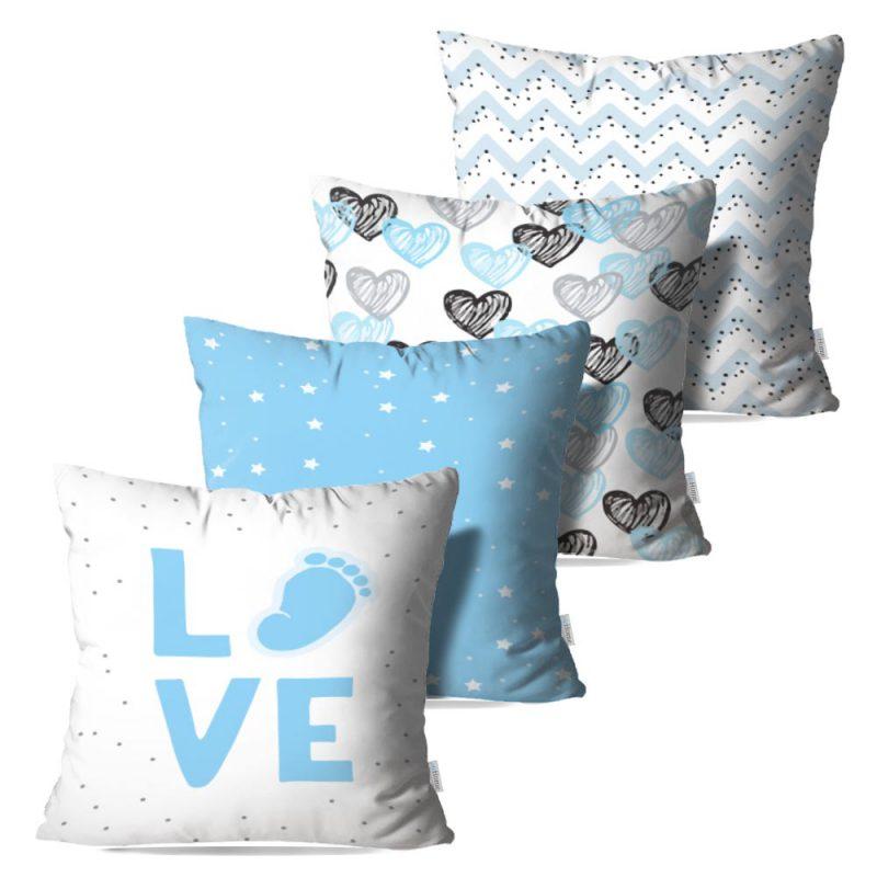 Kit: 4 Capas de Almofada Decorativas Love Boy - 45x45