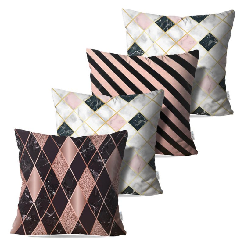 Kit: 4 Capas de Almofada Decorativas Geo Marmor Rose Black - 45x45