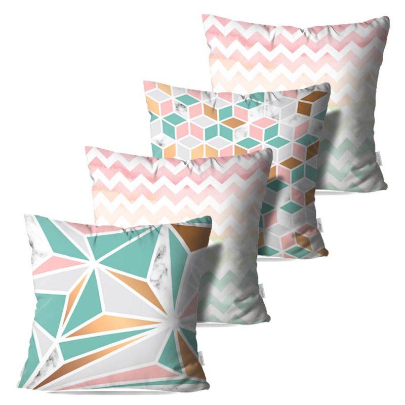 Kit: 4 Capas de Almofada Decorativas Geo Marmor Pink Green - 45x45