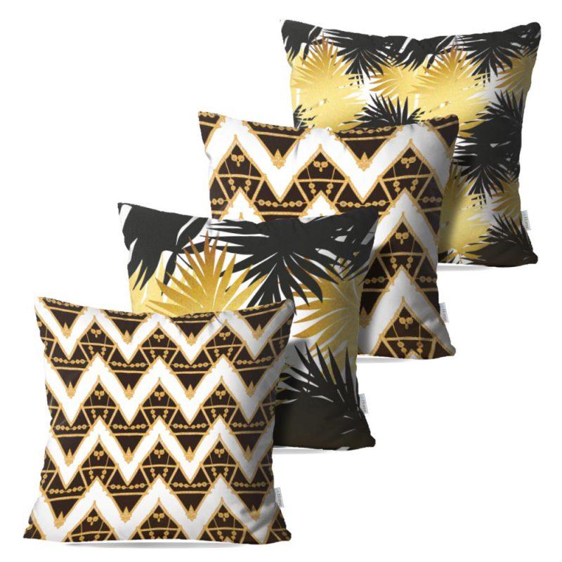 Kit: 4 Capas de Almofada Decorativas Geo Tropical Gold - 45x45