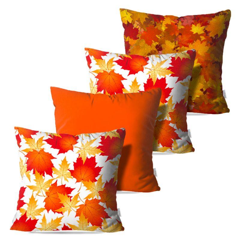 Kit: 4 Capas de Almofada Decorativas Fleur Orange - 45x45