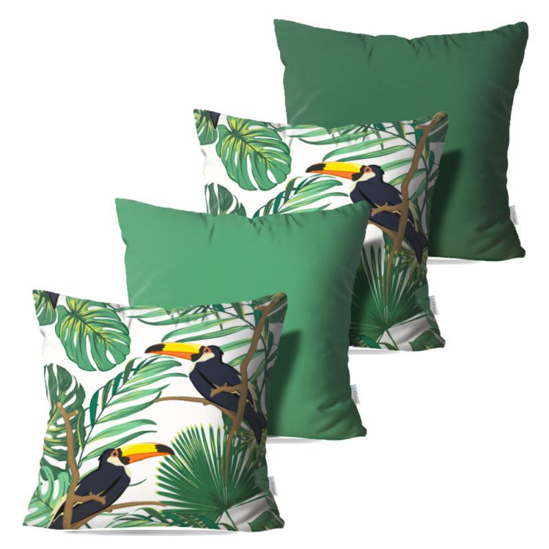 Kit: 4 Capas de Almofada Decorativas Tropical Toucan - 45x45