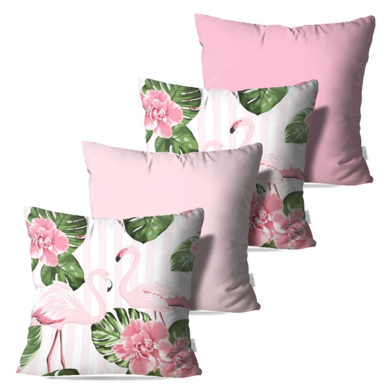 Kit: 4 Capas de Almofada Decorativas Flamingos in Rose - 45x45