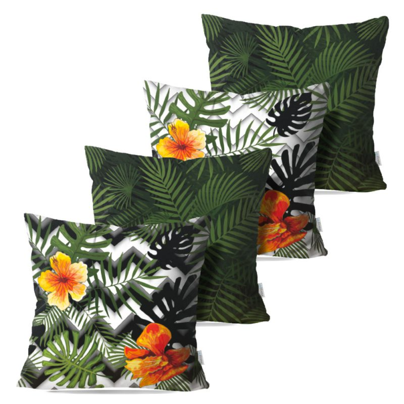 Kit: 4 Capas de Almofada Decorativas Geo Tropical Green - 45x45