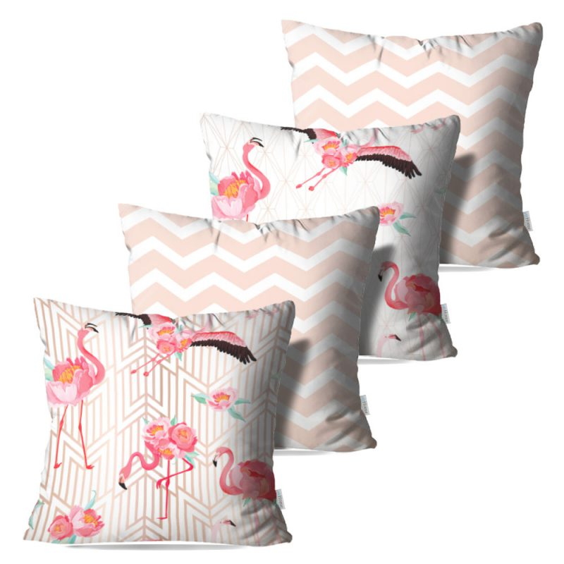 Kit: 4 Capas de Almofada Decorativas Geo Flamingos Rose - 45x45