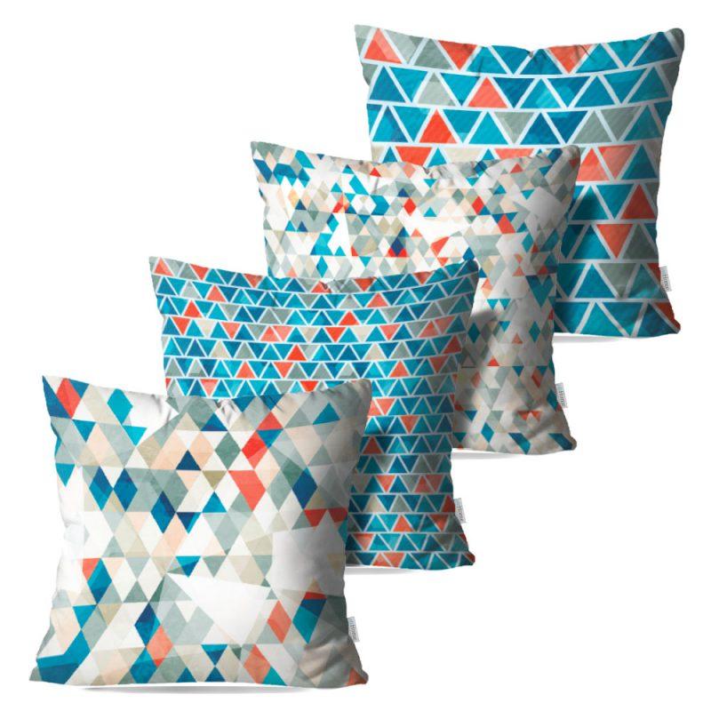 Kit: 4 Capas de Almofada Decorativas Geo Forms - 45x45