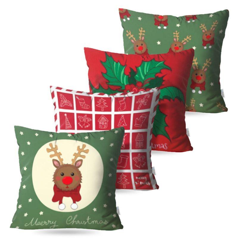 Kit: 4 Capas de Almofada Decorativas Natal Breed - 45x45