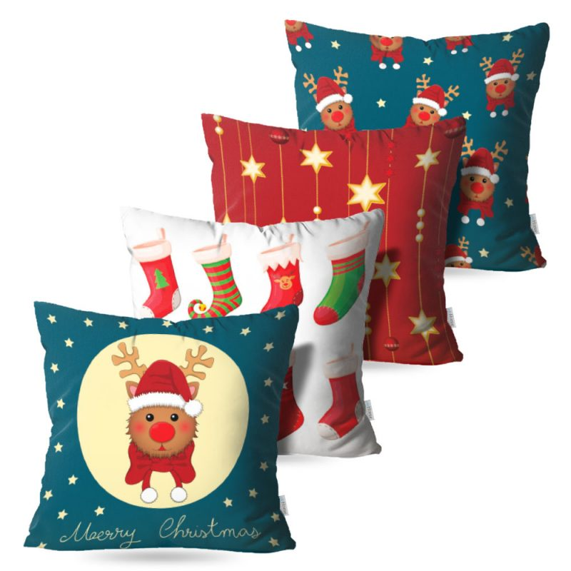 Kit: 4 Capas de Almofada Decorativas Natal Pretty - 45x45