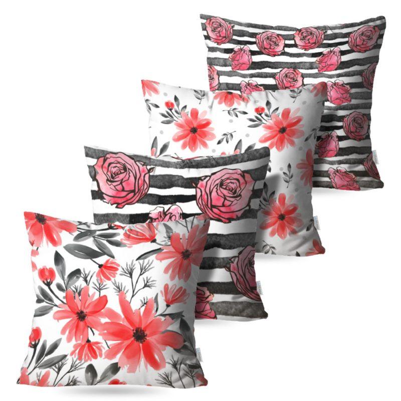 Kit: 4 Capas de Almofada Decorativas Fleur Desire - 45x45