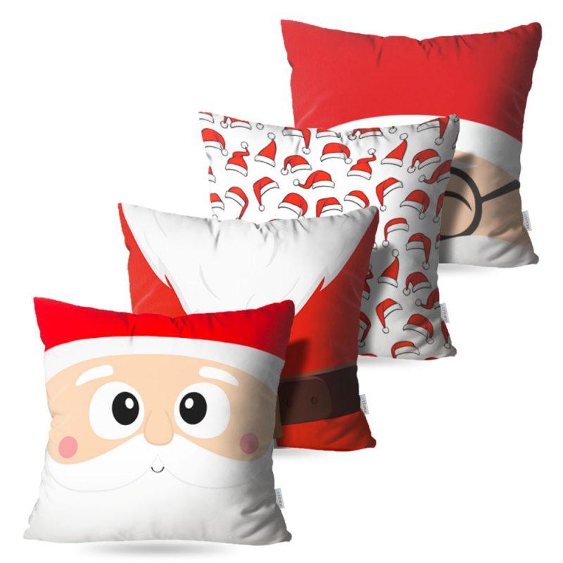 Kit: 4 Capas de Almofada Decorativas Natal Noel - 45x45