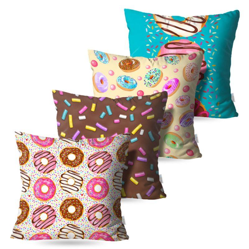 Kit: 4 Capas de Almofada Decorativas Sweet Donuts - 45x45