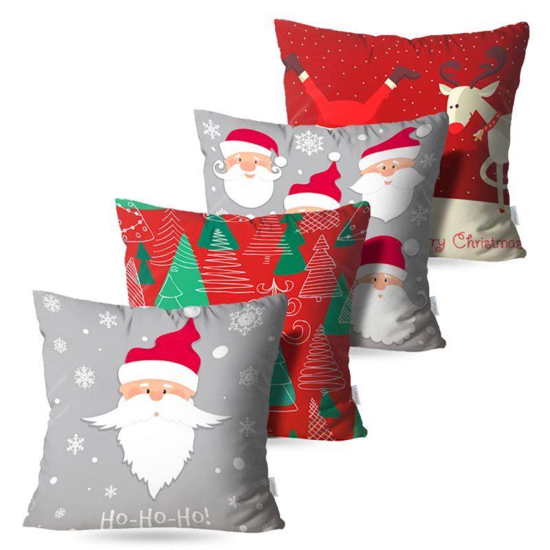 Kit: 4 Capas de Almofada Decorativas Natal Grey - 45x45