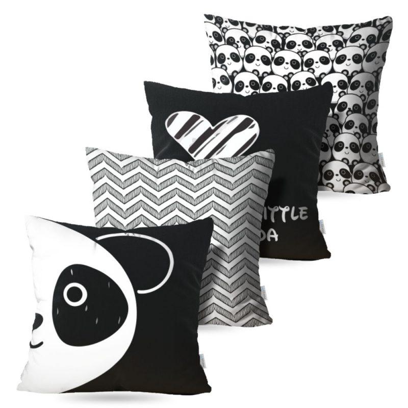 Kit: 4 Capas de Almofada Decorativas Geo Panda - 45x45
