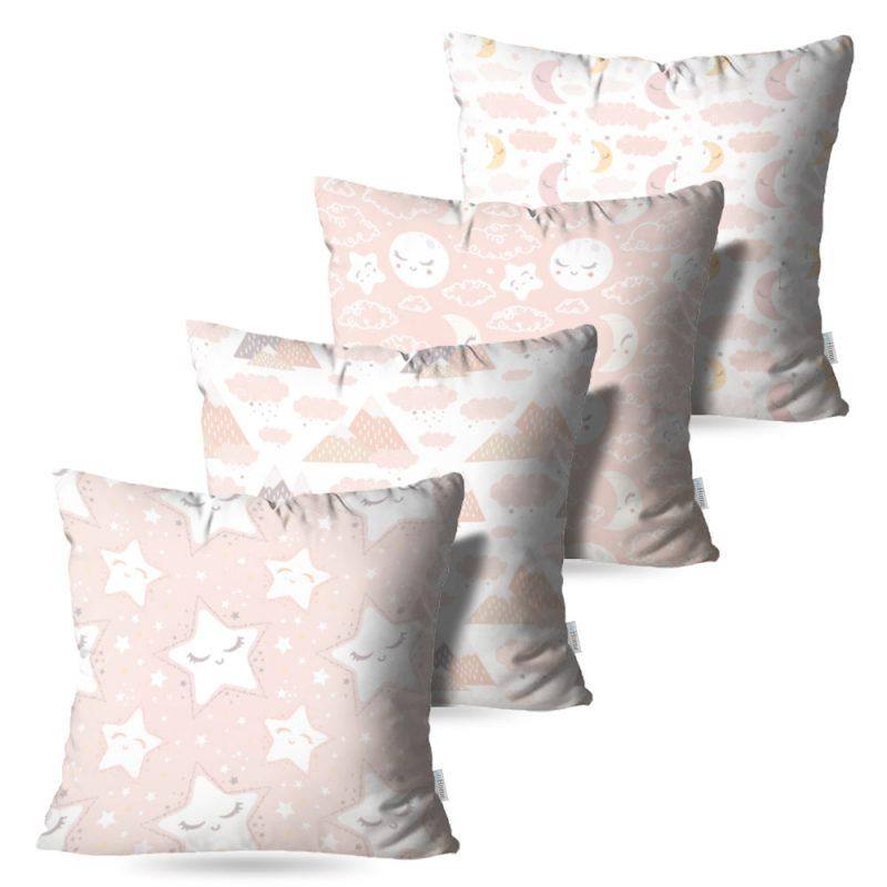 Kit: 4 Capas de Almofada Decorativas Baby Girl - 45x45