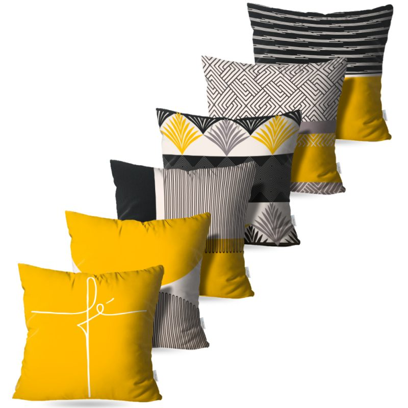 Kit: 6 Capas de Almofada Decorativas Fé Collection Yellow - 45x45