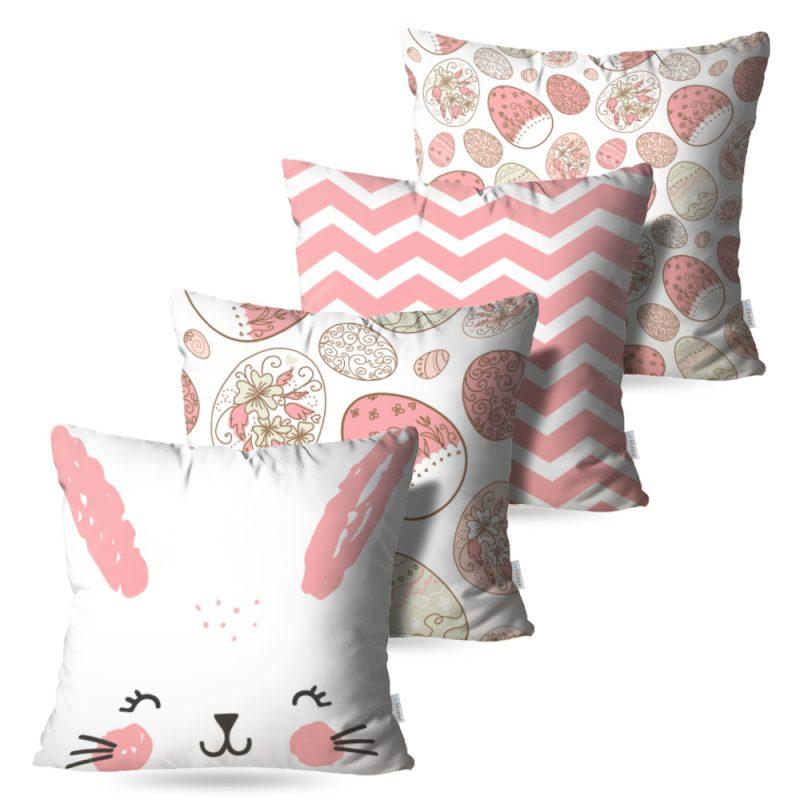 Kit: 4 Capas de Almofada Decorativas Pascoa Bunny - 45x45