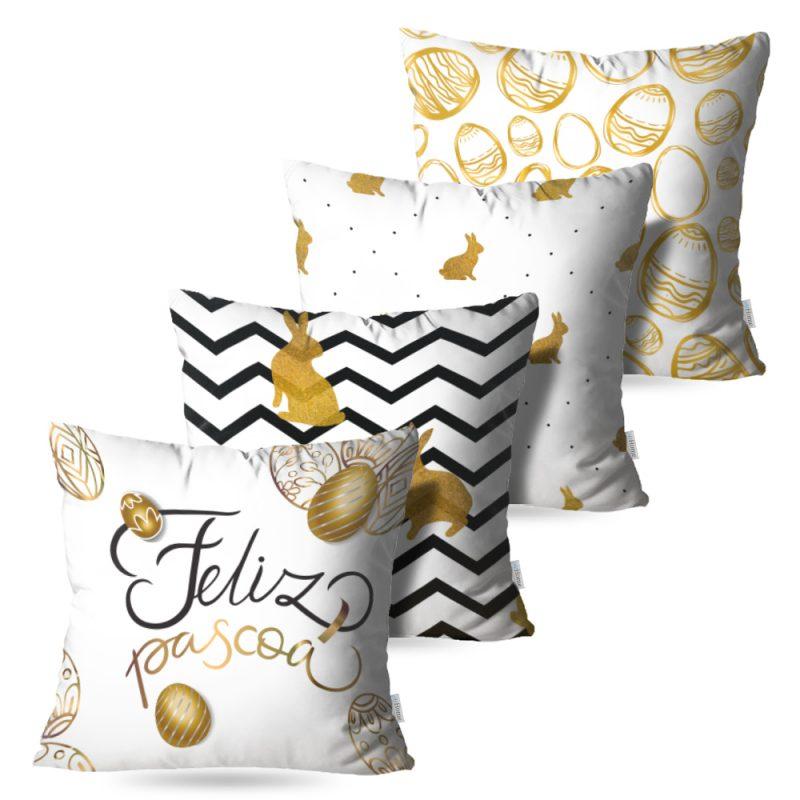 Kit: 4 Capas de Almofada Decorativas Pascoa Gold - 45x45